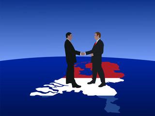 Dutch business men meeting with handshake illustration