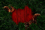 Pine branches and cones, christmas decoration. Graphic design poster