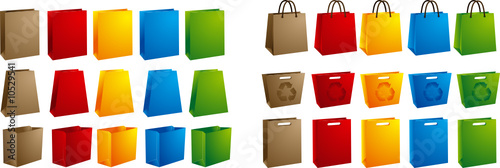 5 color of vector shopping bags on white