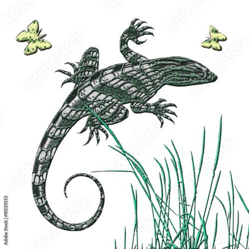 Gecko und Schmetterlinge