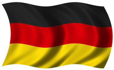 The National Flag of Germany on white background