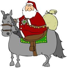 Santa Riding A Horse