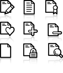 Documents black contour web icons V2