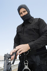 SWAT Team Officer with Automatic Pistol