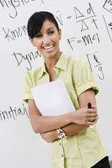 Businesswoman in Front of Whiteboard