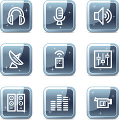 Media web icons, square blue mineral buttons series