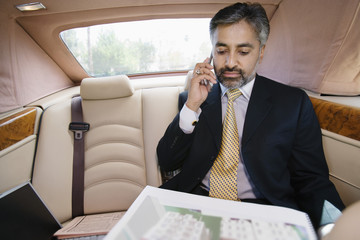 Businessman Using Cell Phone in Private Car