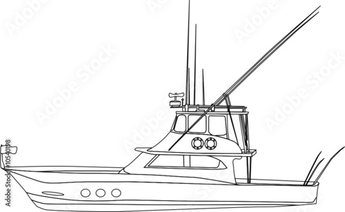 vector - contour fishing boat  isolated on white background
