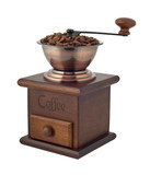 Coffee grinder with beans labeled cutout poster