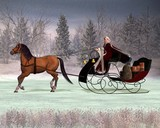 Traditionelle Weihnachtsmann in einem Pferdeschlitten