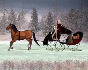 Traditional Father Christmas in a horse drawn sleigh