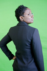 A young African American businesswoman with an attitude.