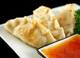 Delicious fried pork and vegetable Chinese dumplings poster