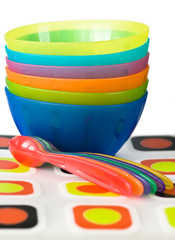 baby color plastic dishes