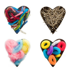four heart shapes with craft elements