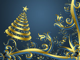 Christmas tree with golden flowers on blue background # 1