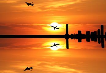 plane departing Boston at sunset illustration