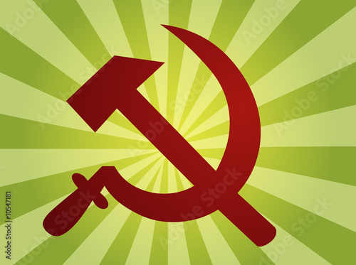 poster of Soviet USSR hammer and sickle political symbol