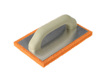 Plasterer with an orange base, isolated on a white
