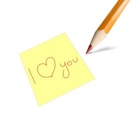 I love you written on a post-it card