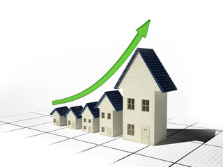 Growing home sales 3D illustration