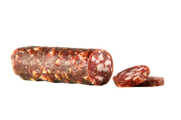 Smoked sausage isolated over a white background..
