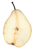 Yellow pear macro sliced cuts application on light background poster