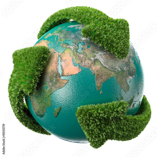 Globe with green arrows covered with leafs.