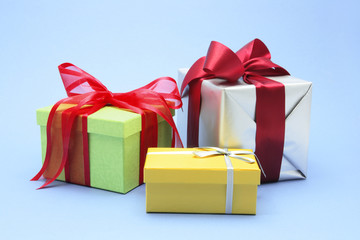 Gift Boxes on Blue Background
