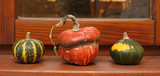 Three different pumkins on window sill in house poster