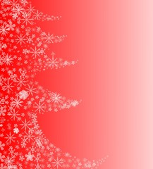 Christmas background with Christmas tree and snowfalkes