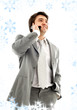 businessman with cellular phone in grey suit