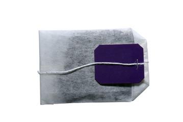 Tea bag isolated on white background.