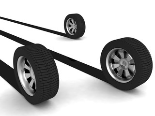 three dimensional rendered tyres