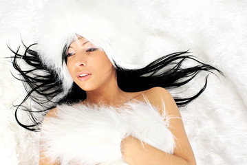 sexy girl on white fur