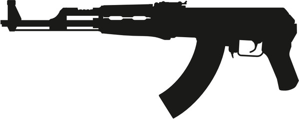 detailed vector silhouette of soviet kalashnikov ak47 short