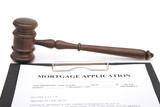 gavel and mortgage application form on white, shallow dof poster