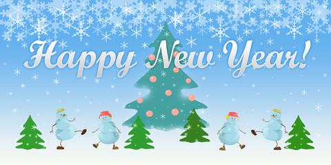 four snowmen congratulations card
