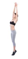 beautiful woman doing exercises on white background