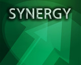 Synergy illustration, abstract management success concept poster