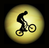 silhouette of the flying bicyclist and the moon poster