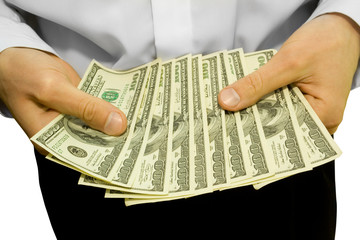 money in the hands of businessman