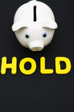 Piggy bank with letters spelling hold , investing your savings poster