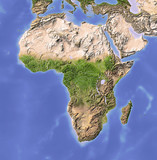 Africa, shaded relief map, colored for vegetation.