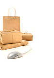 Parcel packages with computer mouse on white poster