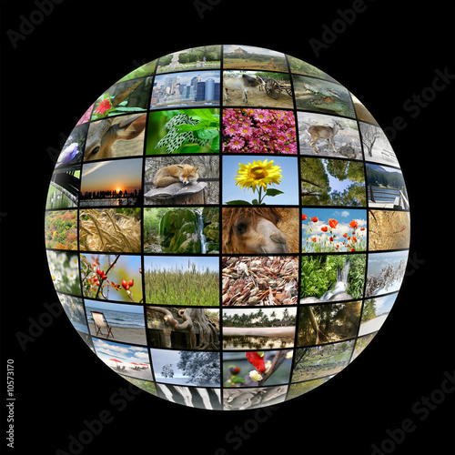 poster of media ball with images on nature