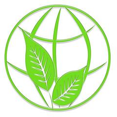 Logo globe terrestre et feuilles