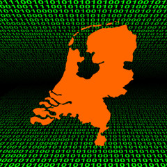 glowing Netherlands map over green binary code