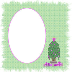 Princess Christmas Oval Frame - With Isolated Clipping Path