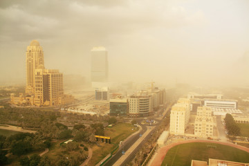 dust storm in dubai, united arab emirates